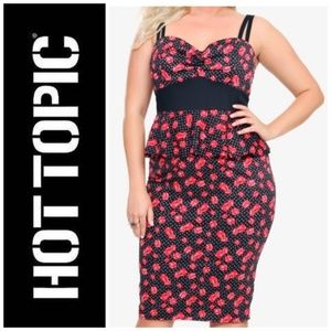 NWT Hot Topic Pin-up Peplum Dice Print Dress
